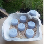 Vela de Té ROMERO cera vegetal, aromatica, Grande 20ml, 4 unidades