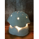 Portavelas Seta Blanca LUZ LED pasta de Piedra. Artesananal