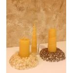 Soporte Vela Crocanti cuadrada con piedra natural, 10cm*10cm