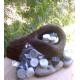 Set 3 Velas de Té Efecto Piedra BLANCA, GRIS y NEGRA cera vegetal