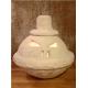 Portavelas Calabaza Halloween Artesanal LED. Centro de mesa pasta de piedra